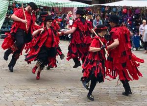 Red Cuthbert dancing in Bedford, July 2019